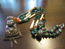 Antique Chinese China Silver Man Bell Pendant Carnelian Malachite Bone? Necklace
