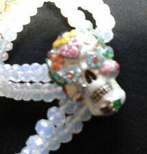 Kirk's Folly Sugar skull Day of the dead stretch bead bracelet rare and unusual!