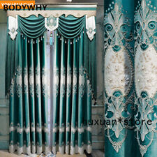 Luxury Quality Upscale European  Embroidered Green Cloth Blackout Curtain Tulle