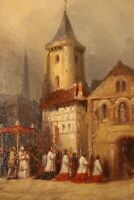 Very Fine 1850 French Signed Dumee Oil on Wood Panel, Procession Outside Church