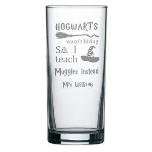 Personalised Engraved Gin Tonic Highball Glass Teacher Gift Harry Potter Student