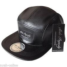 NEW LEATHER 5 PANEL CAP *BLACK* PLAIN BASEBALL FITTED SNAPBACK FLAT PEAK HAT