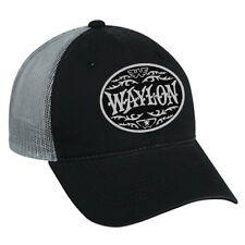 Waylon Jennings Circle Logo Trucker Hat Cap Black Grey Country Music Unisex