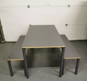 Made.com Exdisplay Essentials Mino Dining Table & Set Of 2 Benches Grey RPR£299