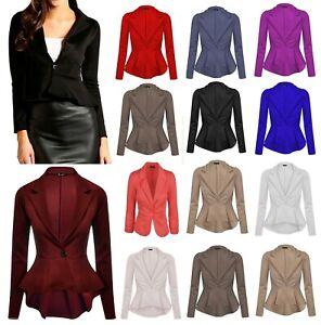 Women's Ladies Crop Frill Shift Slim Fit Peplum Blazer Jacket Coat UK Size 8-26
