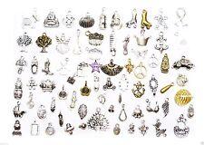 130 colgantes variados lote 2 und x modelo bronce y plateado 10 x 80mm abalorios