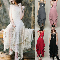 US Women's Boho Irregular Lace Sexy Double Layered Ruffled Trimming Long Dress