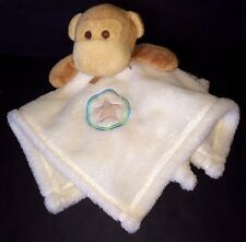 Baby Gear Ivory cream tan monkey Baby security blanket fleece Star in a circle