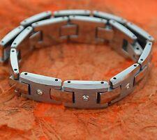 Tungsten Carbide Bracelet with CZ's,Men's Jewelry,Tungsten Bracelet,Link,Brushed