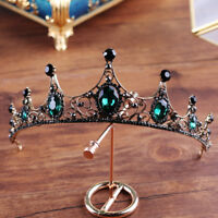 Baroque Vintage Black Green Crystal Tiara Wedding Bridal Hair Accessories Crown