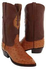 Mens Cognac Genuine Ostrich Leather Cowboy Quill Boots Exotic Western