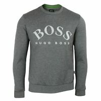HUGO BOSS SWEATSHIRT SALBO MENS DARK GREY CREW NECK TOP