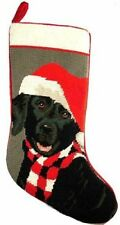 Black Labrador Retriever Lab Dog Needlepoint Christmas Stocking