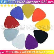 x 10 PZ PLETTRI PICKS MORBIDI MULTICOLOR in PLASTICA CHITARRA - APERTURA 0.50 mm