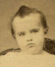 ANGRY CHILD WITH CUPIE DOLL HAIR DO. CDV. TRENTON, N.J.