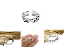Open Silver Cross Heart Toe/Thumb/Finger/Knuckle Ring Stack-able