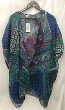RAJ IMPORTS Kimono/Coverup GREEN/BLUE Patchwork * One Size Gender Neutral