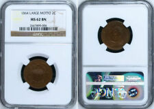 1864 LARGE MOTTO NGC CERTIFIED MS62BN MS62 TWO CENT UNITED STATES COIN MS 62 BN
