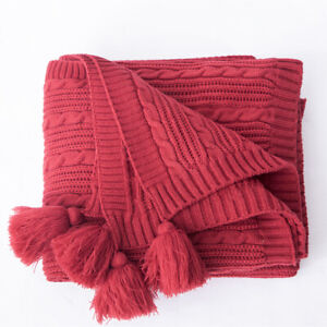 Home Bedding Knitted Throw Blanket Sofa Bed Warm Blanket Home Office Decor Solid