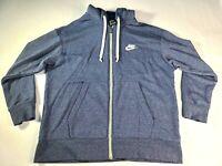 Nike Men's XL Hooded Full Zip Sweatshirt Navy Blue Athletic Workout Hoodie