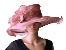Luxus Damenhut ALTROSA Hut Brauthut Organzahut Hochzeit Pferderennen Anlasshut