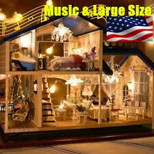 Newest Musical Diy Dollhouse Doll House Miniature Room Kit Toy Furniture