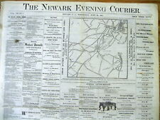 1872 newspaper with a front page MAP of Perth Amboy NEW JERSEY & NEW YORK CITY