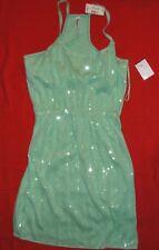 Women's Junior SZ S green sequin Aéropostale elastic waist short party dress