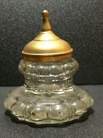 19th-century Antique Inkwell with a lid. Thick Glass.