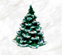 Vtg 70's Ceramic Christmas Tree With Colored Bulbs Snow Capped Small