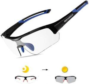 RockBros Cycling PC Photochromatic Glasses 100% UV400 Bike Goggles Black Blue