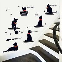 Wandtattoo Wandsticker Kinderzimmer Wohnzimmer Elegante Schwarze Katzen