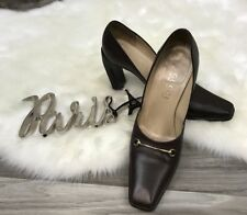 Womens Gucci Horsebit Mule Heels Brown size 6.5B Made in Italy B6