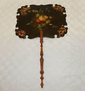 Antique Georgian / Victorian Floral Papier Mache Black Lacquer Hand Face Screen