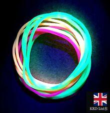 12 x NEON UV GUMMY BRACELETS Bands Jelly Bangles 80s 80's Fancy Dress Glow UK