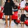 Belle Femme Col Rond Couture Plissé Manche longue Party Mini Robe Dresse Plus