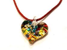 Bijou collier sur cordon rouge coeur en pâte de verre necklace