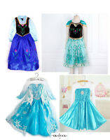 Princess ANNA Queen ELSA Costume Tulle Girls Frozen Dresses 3-8 Years