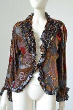 Rene Derhy Floral Velvet Silk Blouse Top Size M