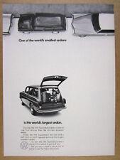 1969 VW Volkswagen Squareback wagon parallel parked photo vintage print Ad