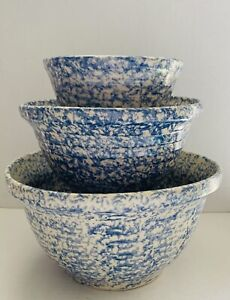 Roseville Ohio Pottery Blue Spongeware Nesting Mixing Bowls Ribbed