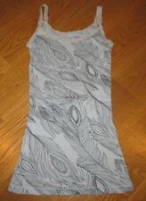 LILU Gray SPARKLY PEACOCK FEATHERS Ribbed LACE Trim TANK TOP Junior Women XS