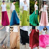 New Women Chiffon Elegant Elastic Waist Band Pleated Beach Long Maxi Skirt Dress