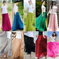 Women Skirt Elastic Waist Chiffon Long Maxi  Beach Dress Fashion Beach Skirt