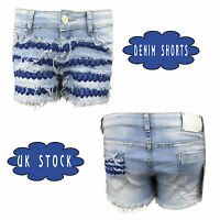 New Ladies Womens Girls Vintage High Waisted Denim Shorts Size 6 8 12 10 14