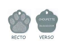 medaille gravee chien ou chat - modele petite patte de chat calinette - argent