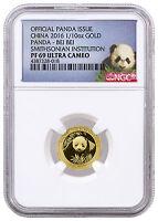 2016 Panda Bei Bei China 1/10 oz. Proof Gold Smithsonian NGC PF69 UC SKU40828