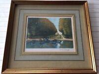"Victor Valery Original Hand-Colored Etching Print, Signed, Framed, 8"" x 6"" Image"