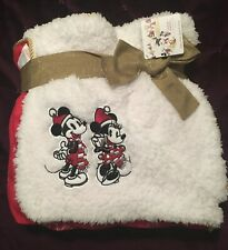 More details for disney store mickey & minnie mouse christmas fleecy blanket / throw - bnwt