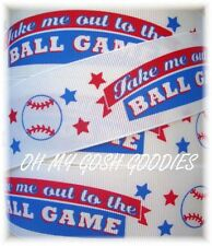 1.5 TAKE ME OUT TO THE BALLGAME BASEBALL GRAND SLAM GROSGRAIN RIBBON 4 HAIRBOW